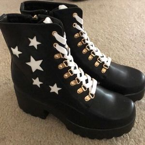 KOI Footwear platform chunky star combat boot